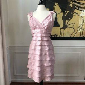London Times Shimmer Pink Tiered Ruffle Dress 10